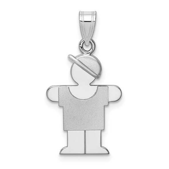 14k White Gold Small Boy w/Hat On Right Pendant XK304