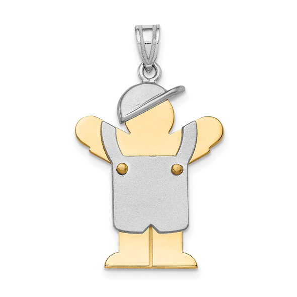14k Yellow and White Gold Large Boy w/ Hat On Left Pendant XK418