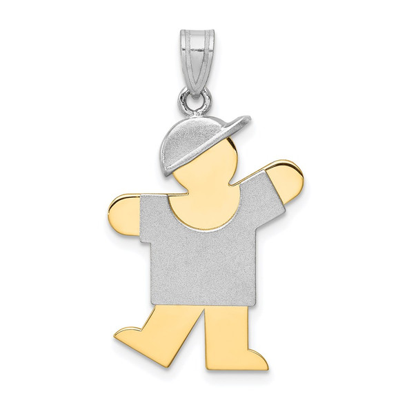 14k Yellow and White Gold Large Boy w/ Hat On Left Pendant XK415