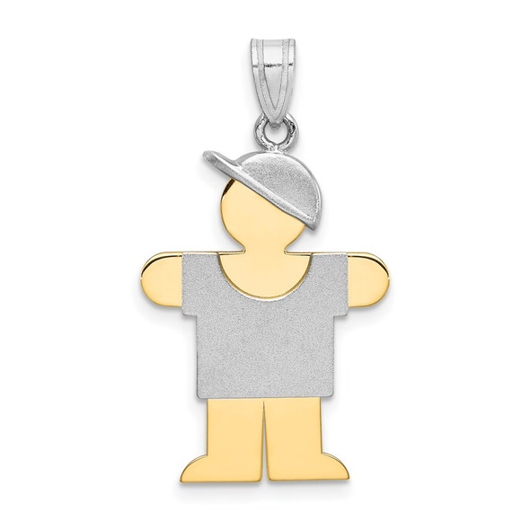 14k Yellow and White Gold Large Boy w/ Hat On Right Pendant XK239