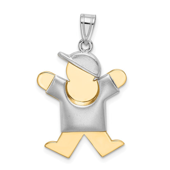 14k Yellow and White Gold Puffed Boy w/ Hat On Right Pendant XK579