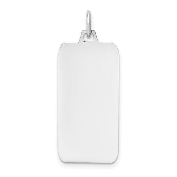 14k White Gold Plain .018 Gauge Rectangular Engravable Dog Tag Pendant