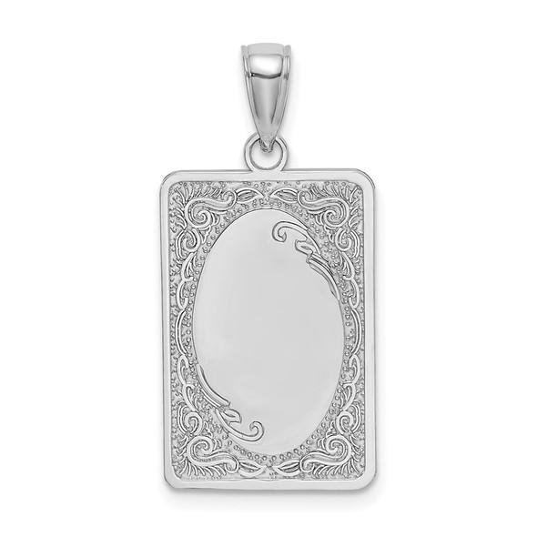 14k White Gold Rectangular Engraved Pendant