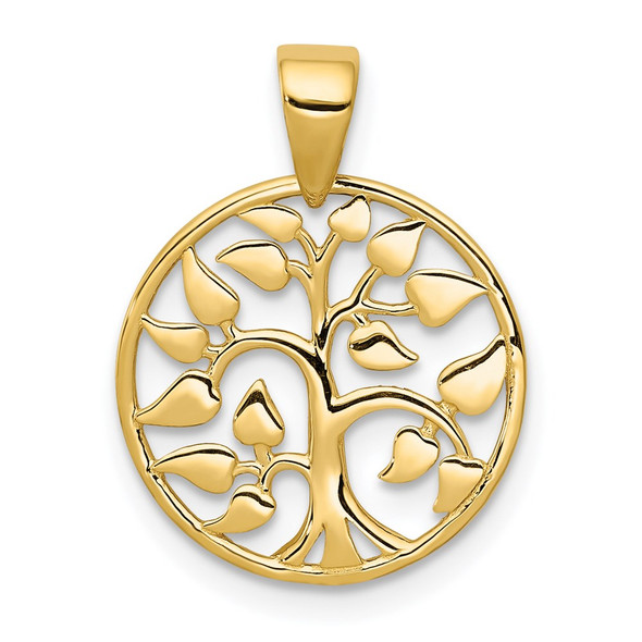 14k Yellow Gold Polished Tree in Circle Pendant