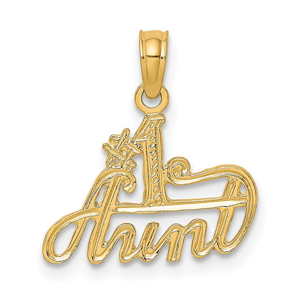 14k Yellow Gold #1 Aunt Pendant D3965