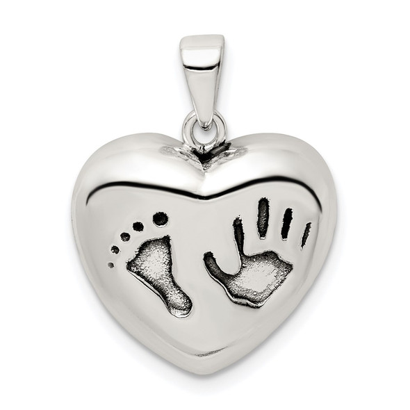 Sterling Silver Antiqued Heart Baby Foot Pendant QC9512