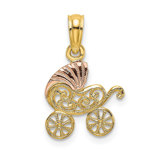 14k Two-tone Gold Baby Stroller w/Visor Pendant