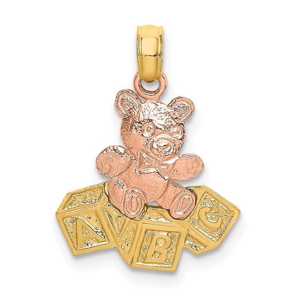 14k Two-tone Gold Teddy Bear w/ABC Blocks Pendant