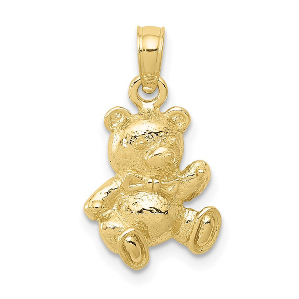 10k Yellow Gold Teddy Bear With Bow Tie Pendant