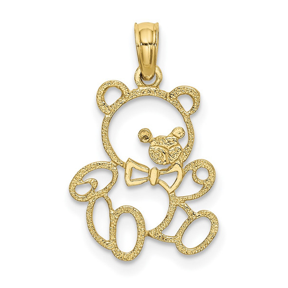 10k Yellow Gold Cut Out Teddy Bear Pendant