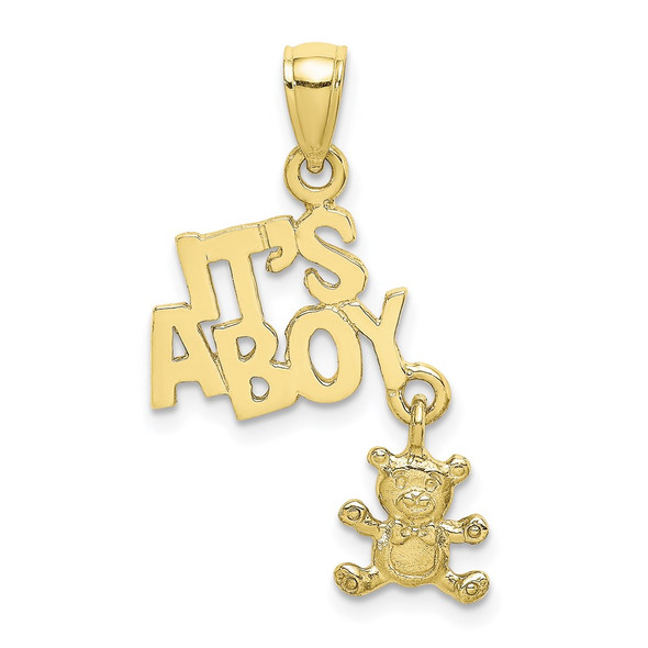 10k Yellow Gold Moveable Its A Boy With Teddy Bear Pendant