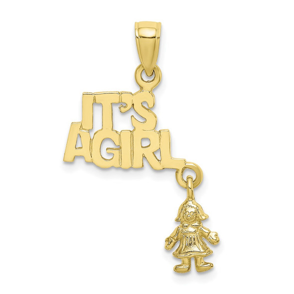 10k Yellow Gold Moveable IT'S A GIRL with Doll Pendant