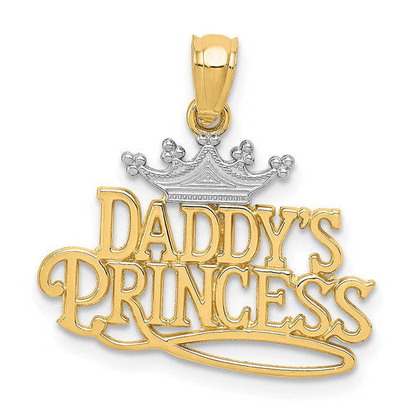14k Yellow Gold And Rhodium Daddys Princess Pendant