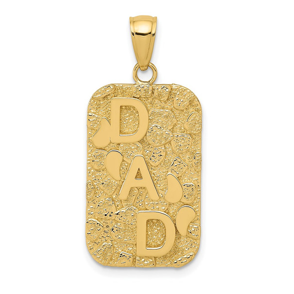 14k Yellow Gold DAD Gold Nugget Dog Tag Pendant