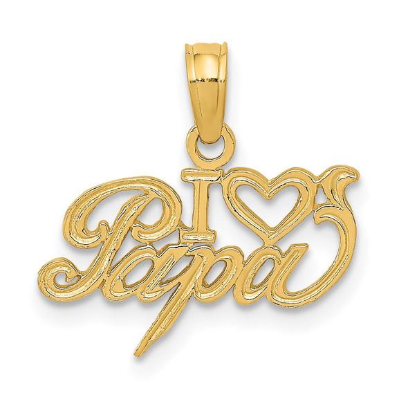 14k Yellow Gold I Heart Papa Pendant