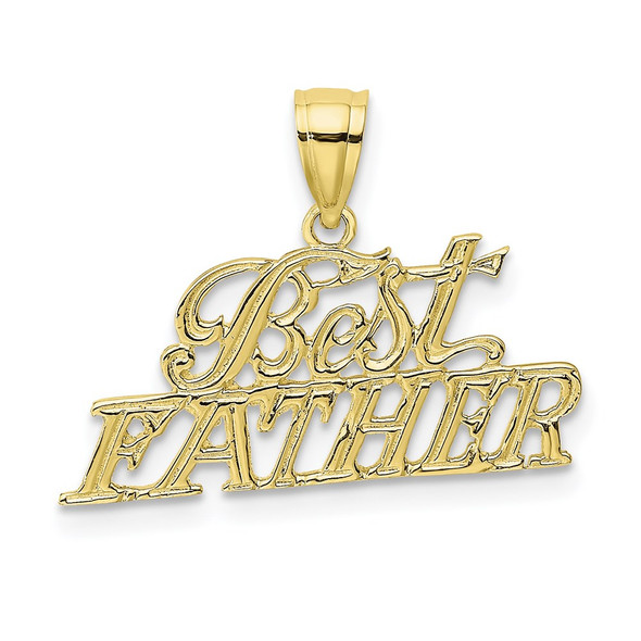 10k Yellow Gold Best Father Pendant