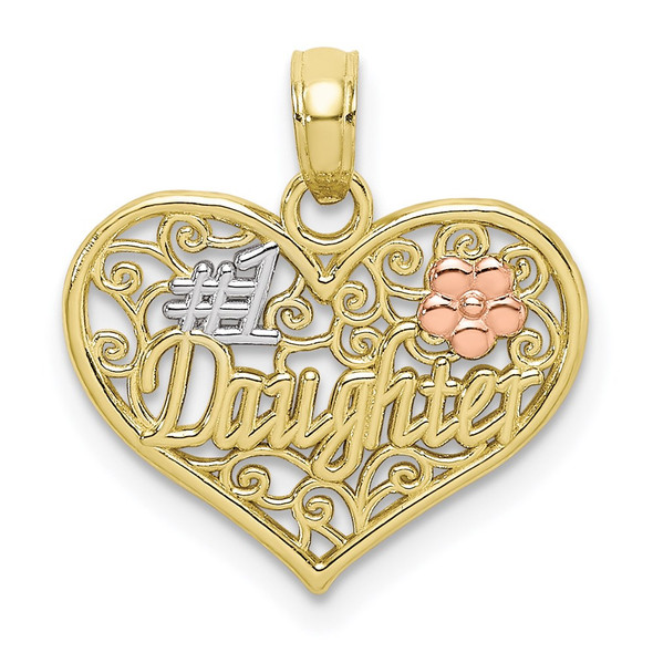 10k Yellow and Rose Gold w/ Rhodium #1 DAUGHTER In Heart w/ Flowers Pendant