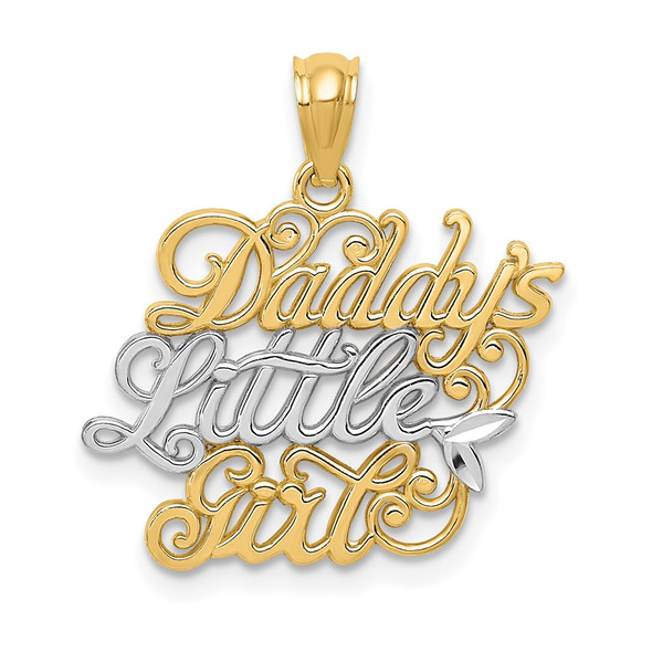 14k Yellow Gold And Rhodium Daddys Little Girl Pendant
