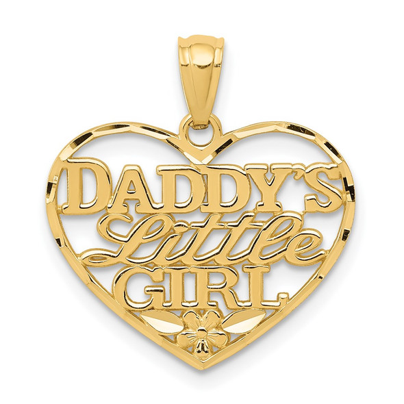 14k Yellow Gold Diamond-Cut Daddys Little Girl Heart Pendant