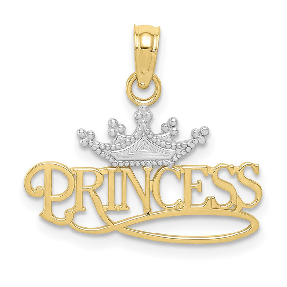 10k Yellow Gold w/Rhodium PRINCESS w/White Crown Pendant