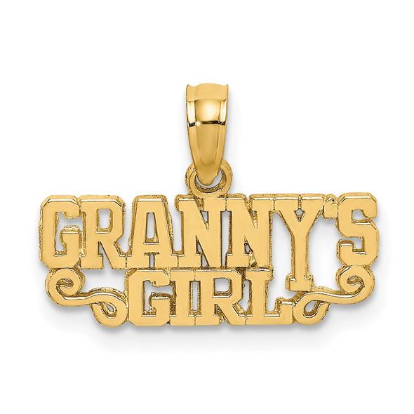 14k Yellow Gold Polished GRANNYS GIRL Pendant
