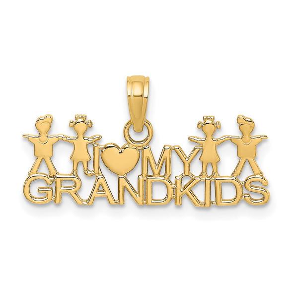 14k Yellow Gold I LOVE MY GRANDKIDS Pendants