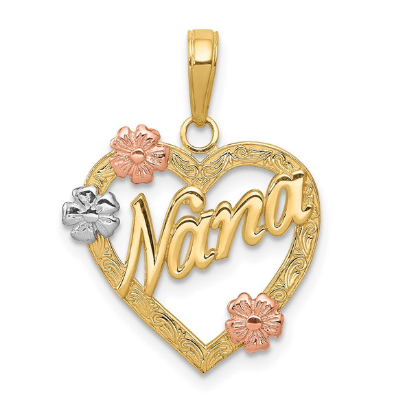 14k Yellow, White and Rose Gold Nana In Heart w/ Flowers Pendant