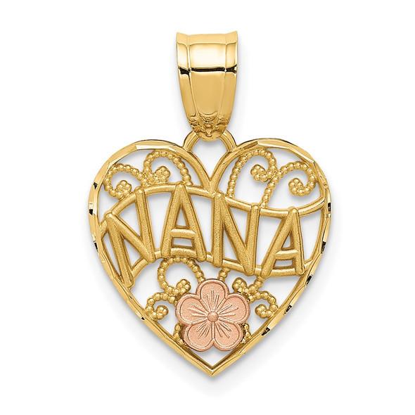 14k Yellow and Rose Gold Nana Heart Pendant