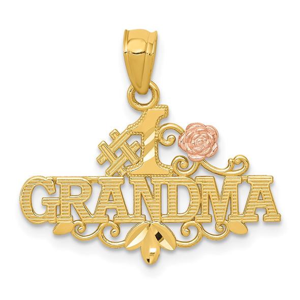 14k Yellow and Rose Gold Diamond-cut #1 Grandma w/ Rose Pendant
