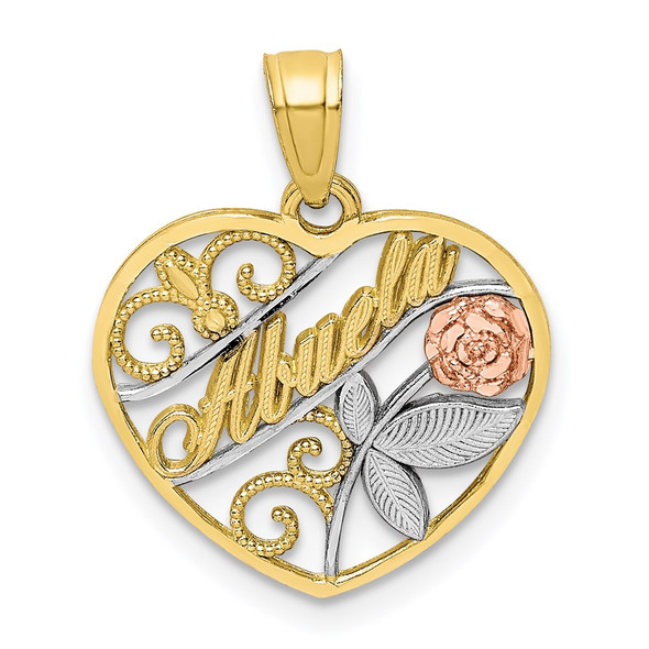 10k Yellow and Rose Gold with White Rhodium Abuela Pendant
