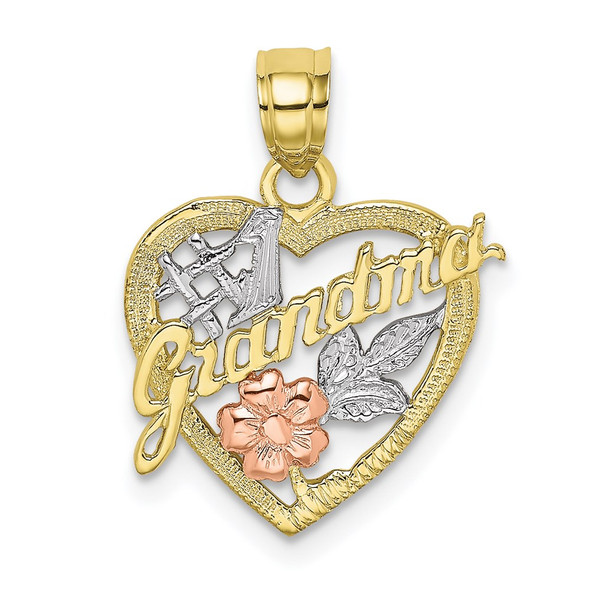 10k Yellow and Rose Gold with White Rhodium #1 GRANDMA In Heart Pendant