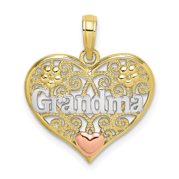 10k Yellow and Rose Gold with White Rhodium GRANDMA in Filigree Heart Pendant