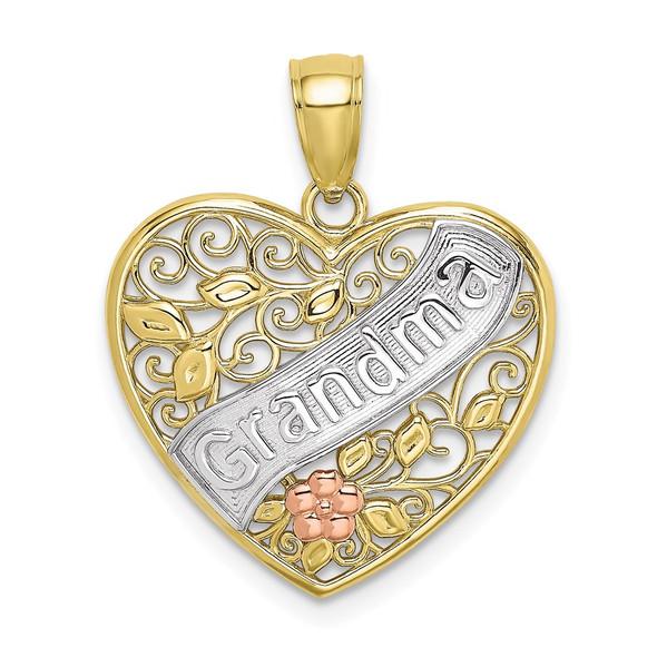 10k Yellow and Rose Gold w/Rhodium-Plate Grandma Filigree Heart /Flowers Pendant