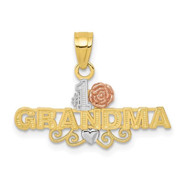 10k Yellow and Rose Gold with White Rhodium #1 Grandma Pendant