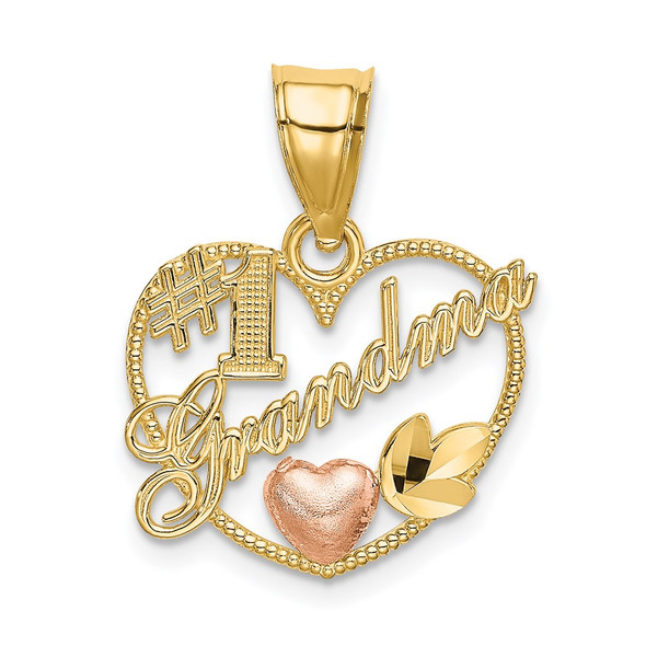 14k Yellow and Rose Gold #1 Grandma In Heart Frame Pendant