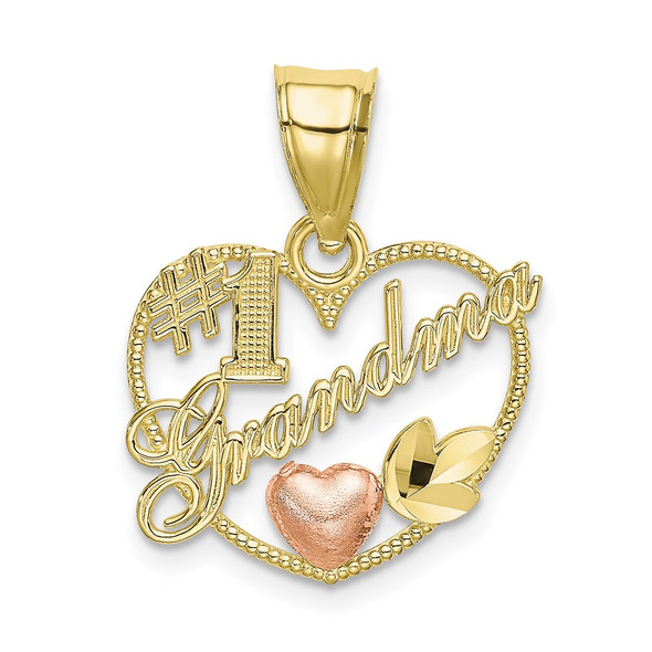 10k Yellow and Rose Gold #1 GRANDMA In Heart Frame Pendant
