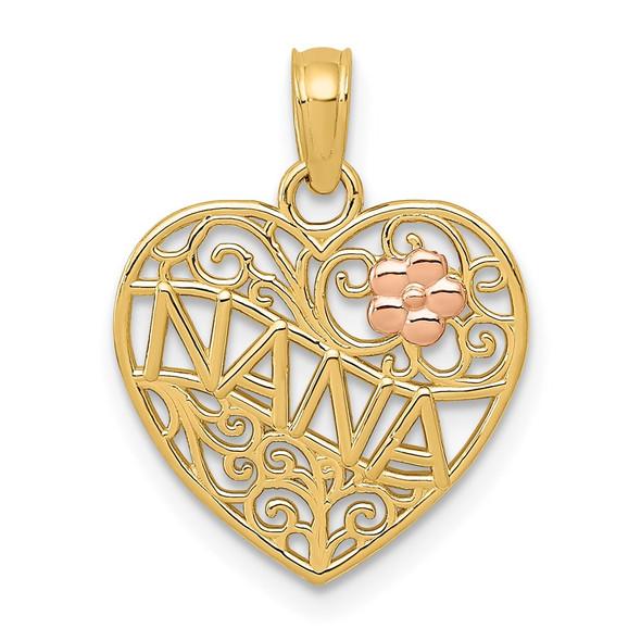 14k Two-tone Gold Polished Nana w/Flower on Heart Pendant