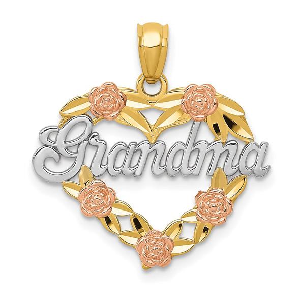 14k Two-tone Gold & Rhodium Grandma Heart Pendant K2680