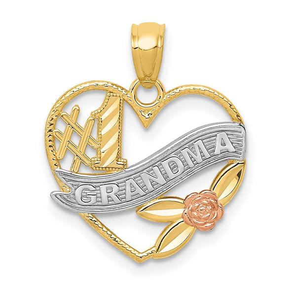 14k Two-tone Gold & Rhodium #1 Grandma Heart Pendant K2672
