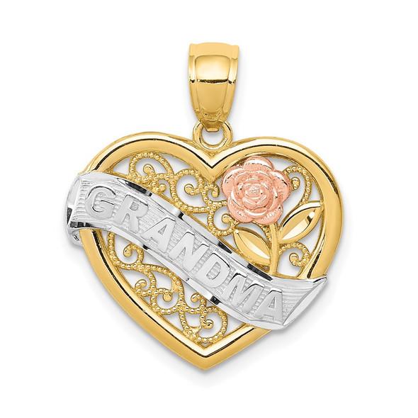 14k Two-tone Gold & Rhodium Grandma Heart Pendant K2679