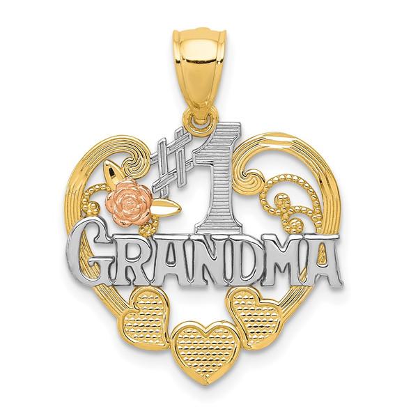 14k Two-tone Gold & Rhodium #1 Grandma Heart Pendant K2683