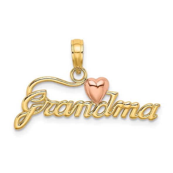 14k Two-tone Gold Grandma w/Heart Pendant