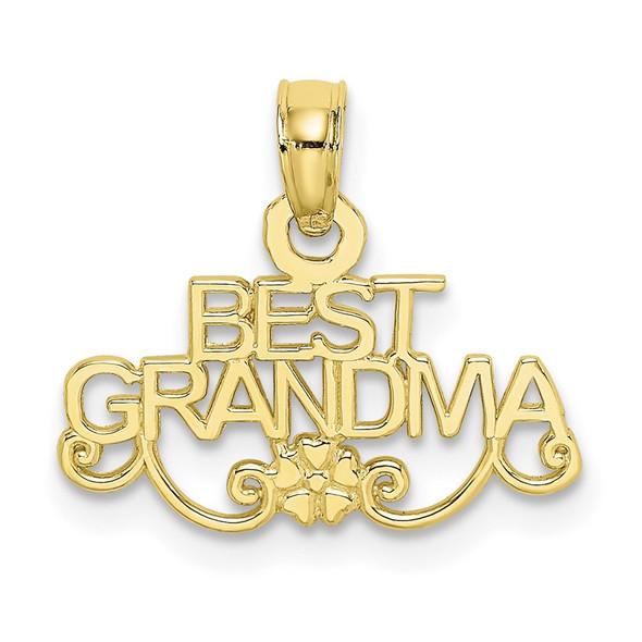 10k Yellow Gold Best Grandma With Flower Pendant