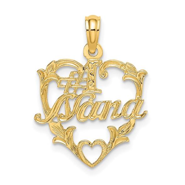 14k Yellow Gold #1 Nana In Heart Pendant