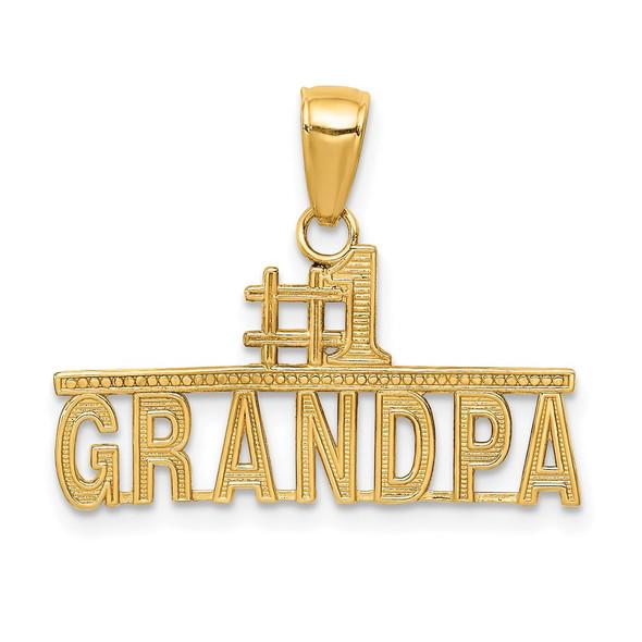 14k Yellow Gold #1 Grandpa Pendant K4731
