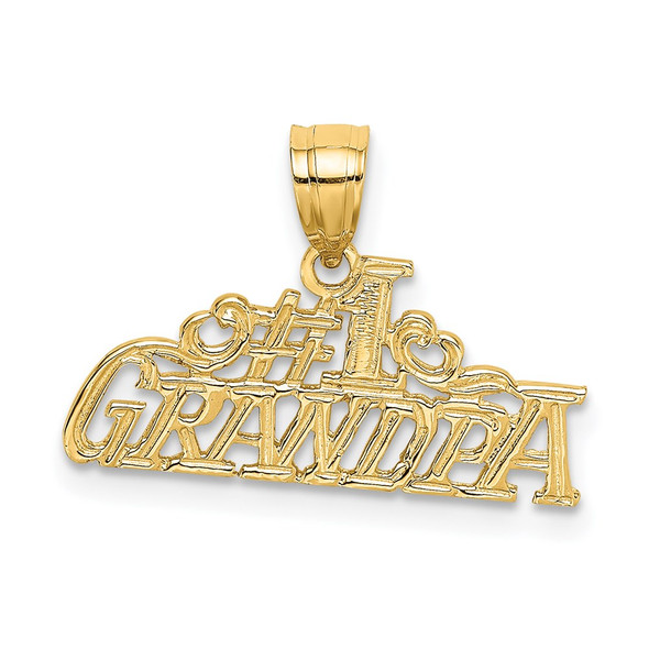 14k Yellow Gold #1 Grandpa Pendant D3977
