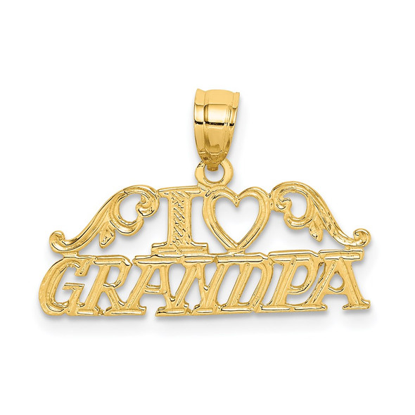 14k Yellow Gold I Heart Grandpa Pendant