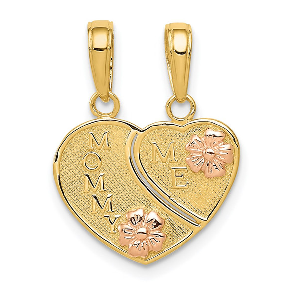 14k Yellow and Rose Gold Mommy / Me Breakable Heart Pendant