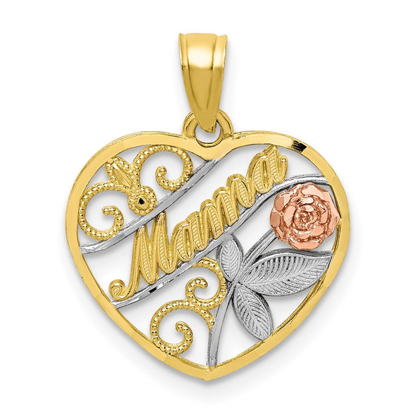 10k Yellow and Rose Gold with White Rhodium Mama Pendant