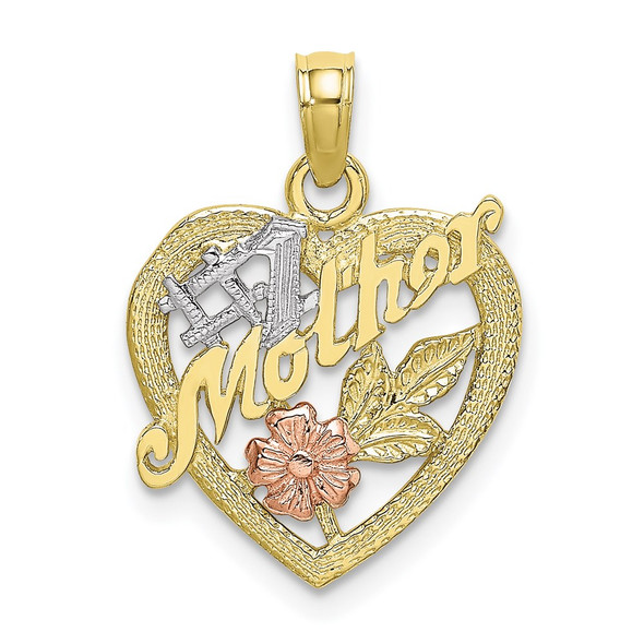 10k Yellow and Rose Gold with Rhodium #1 MOTHER Heart and Flower Pendant